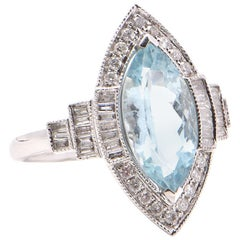 Marquise Aquamarine and Diamond Cocktail Ring in 18 Carat White Gold