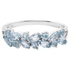 Marquise Aquamarine and Round Aquamarine Wedding Ring Band in 18K White Gold