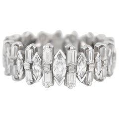 Marquise Baguette and Round Diamonds on Wedding Band Ring