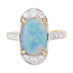 Marquise Blue Opal Diamonds 18 Carat Yellow Gold Ring