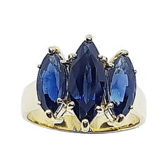 Marquise Blue Sapphire Ring Set in 18 Karat Gold Settings