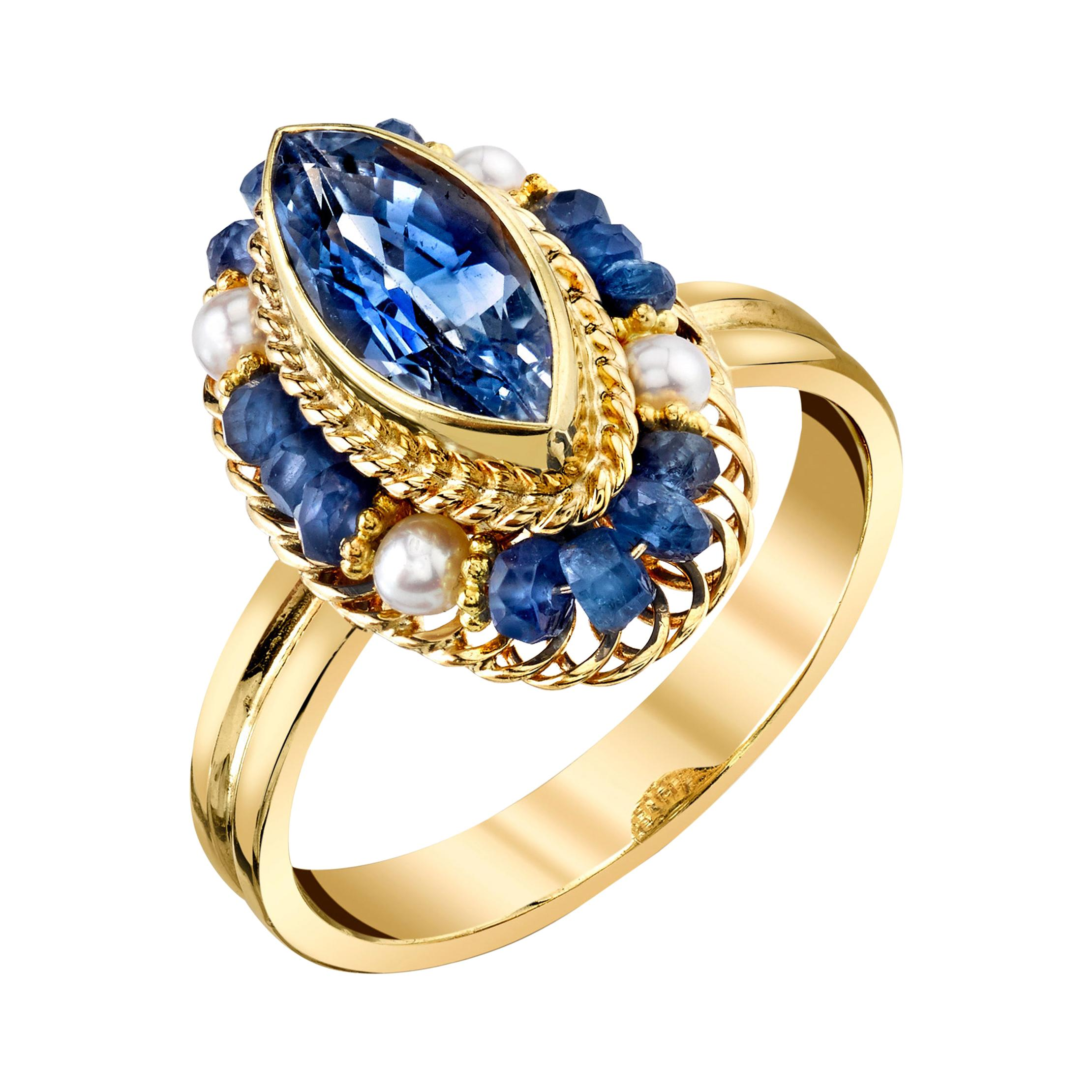 Marquise Blue Sapphire, Seed Pearl and Blue Sapphire Bead Yellow Gold Ring