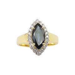 Marquise Blue Sapphire with Diamond Ring Set in 18 Karat Gold Settings