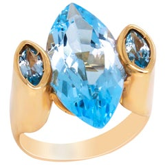 Marquise Blue Topaz 14 Karat Yellow Gold Three-Stone Cocktail Ring
