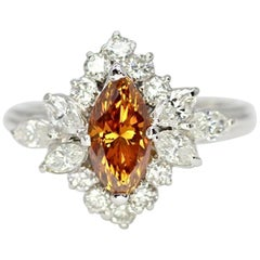 Marquise Brilliant Fancy Orangy-Brown Color, SI2 in Clarity Diamond Ring
