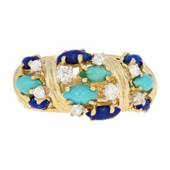 Marquise Cabochon Cut Turquoise, Lapis, and Diamond Vintage Ring 18k Yellow Gold