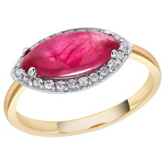 Marquise Cabochon Ruby Set in 18 Karat Yellow and White Gold Cocktail Ring