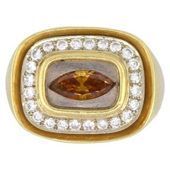 Marquise Citrine Ring with Diamond Halo
