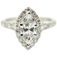 Marquise Cut 1.00 Carat Diamond Halo Engagement Ring