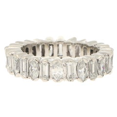 Marquise & Baguette-Cut Diamond Full Eternity Ring in 18ct White Gold