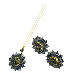 Marquise Cut Blue Sapphire Set in 18 Karat Yellow Gold Earrings and Necklace Set