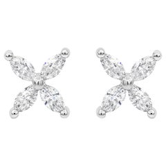 Marquise Cut Diamond Flower Stud Earrings
