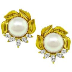 Marquise Cut Diamond Pearl 18 Karat Yellow Gold Earrings