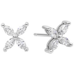 0.55 Carat Total Marquise Cut Diamond Stud Earrings