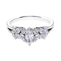 Marquise Cut Diamond Unique Engagement Ring in 18K White Gold with GIA Certified