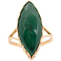 Marquise Cut Malachite and 18 Karat Yellow Gold Ring