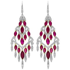 Marquise Cut Ruby and Diamond Chandelier Earrings