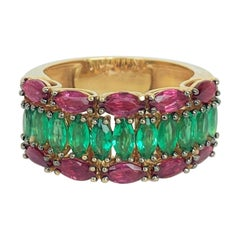 Marquise Cut Ruby and Emerald Yellow Gold Cocktail Ring