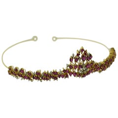 Marquise Cut Ruby and Round Brilliant Cut Diamond Set in Yellow Gold Tiara