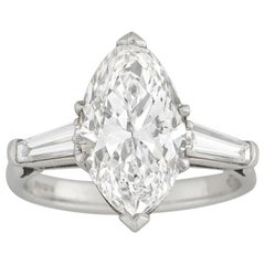 GIA Certified 3.91 Carat Marquise-Cut Diamond Ring