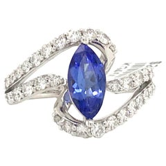 Marquise Cut Tanzanite Diamond Ring 1.96 Carat 14 Karat White Gold