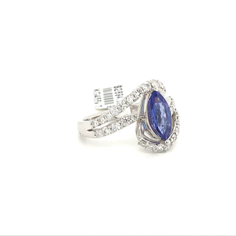 Contemporary Marquise Cut Tanzanite Diamond Ring 1.96 Carat 14 Karat White Gold For Sale