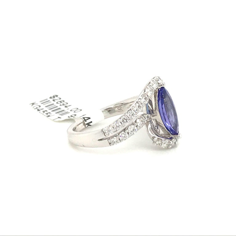 Marquise Cut Tanzanite Diamond Ring 1.96 Carat 14 Karat White Gold In New Condition For Sale In New York, NY