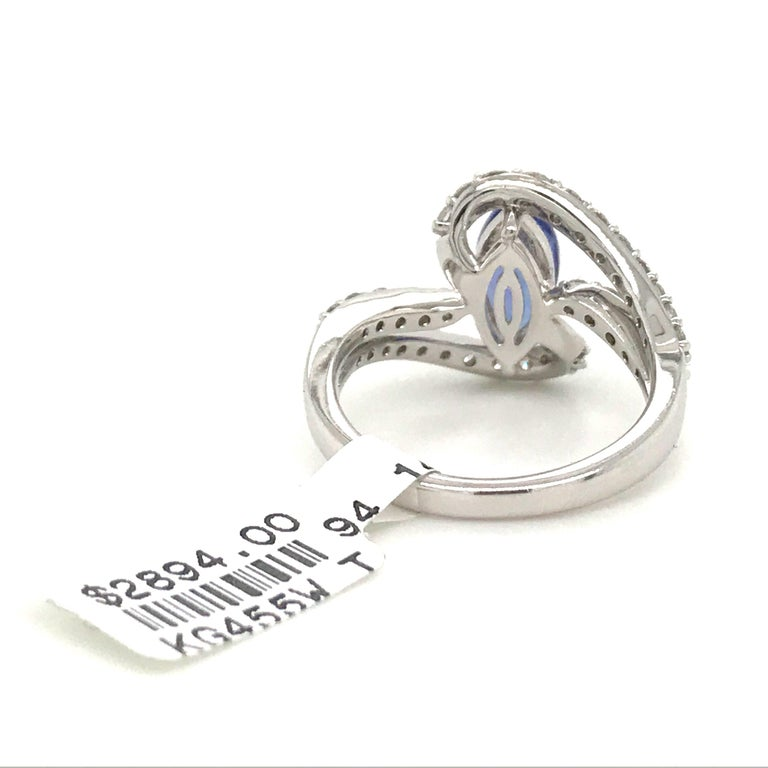 Marquise Cut Tanzanite Diamond Ring 1.96 Carat 14 Karat White Gold For Sale 1