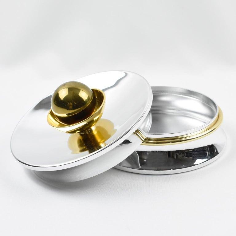 Modern Marquise de Sevigne Paris Chrome Brass Box For Sale