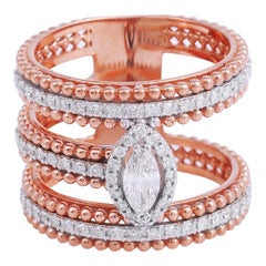 Marquise Diamond 18 Karat Rose Gold Ring