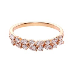 Marquise Diamond and Round Brilliant Cut Diamond Wedding Ring in 18k Rose Gold