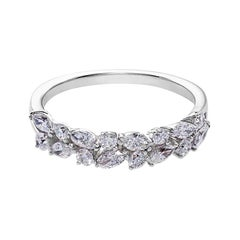Marquise Diamond and Round Brilliant Cut Diamond Wedding Ring in 18K White Gold