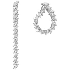 Marquise Diamond Convertible Earrings 3.88 Carat in 18 KT White Gold