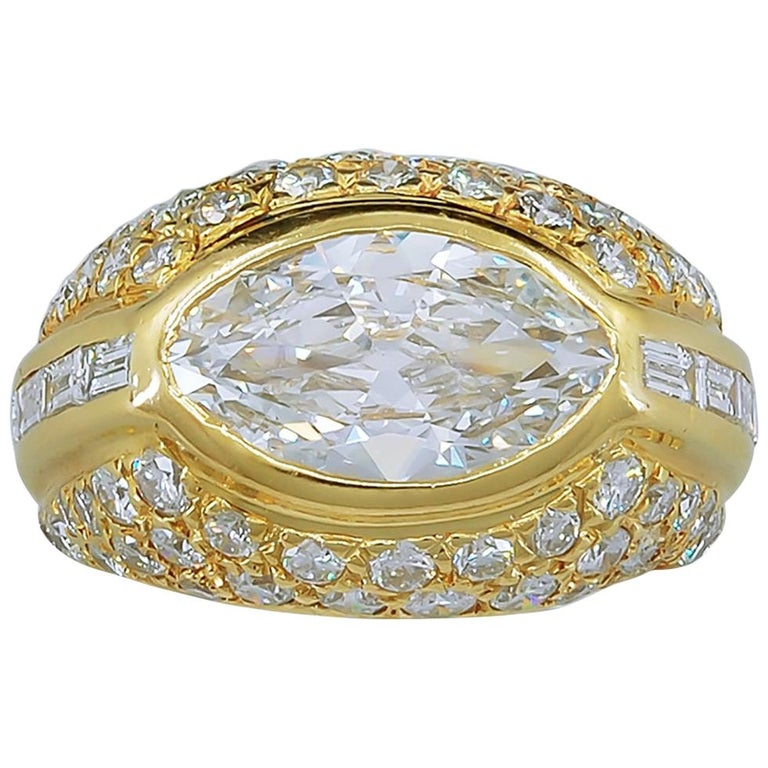 Marquise Diamond Dome Ring For Sale