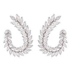 Marquise Diamond Earrings 5.55 Carat in 18 Karat White Gold