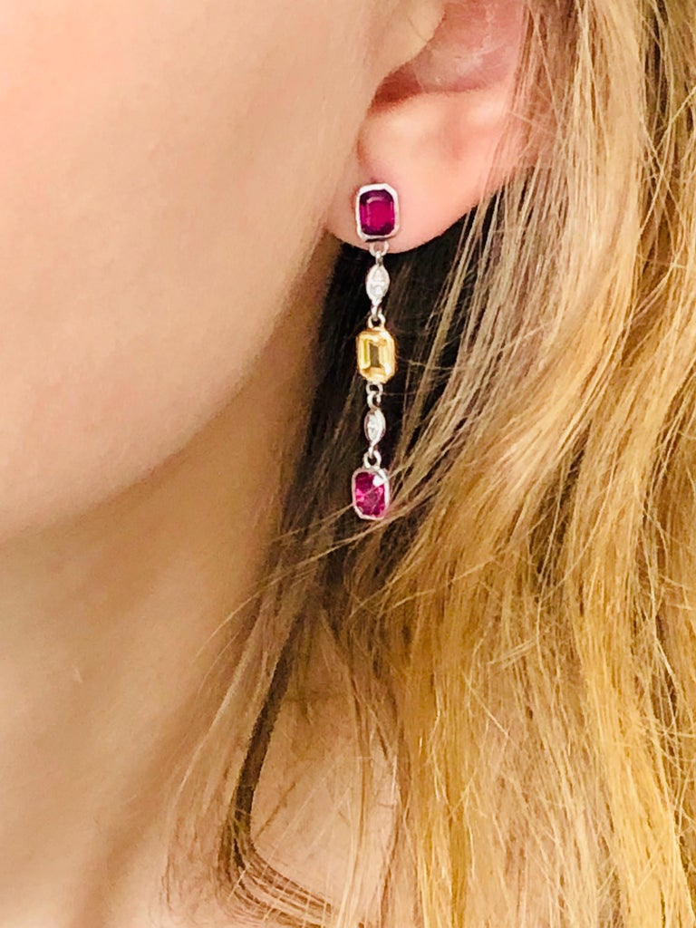 Contemporary Ruby Yellow Sapphire Marquise Diamond Drop Earrings Weighing 3.65 Carat For Sale