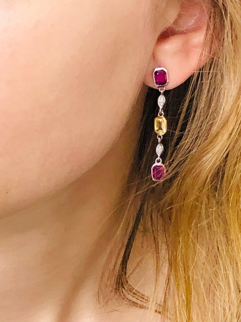 Ruby Yellow Sapphire Marquise Diamond Drop Earrings Weighing 3.65 Carat In New Condition For Sale In New York, NY