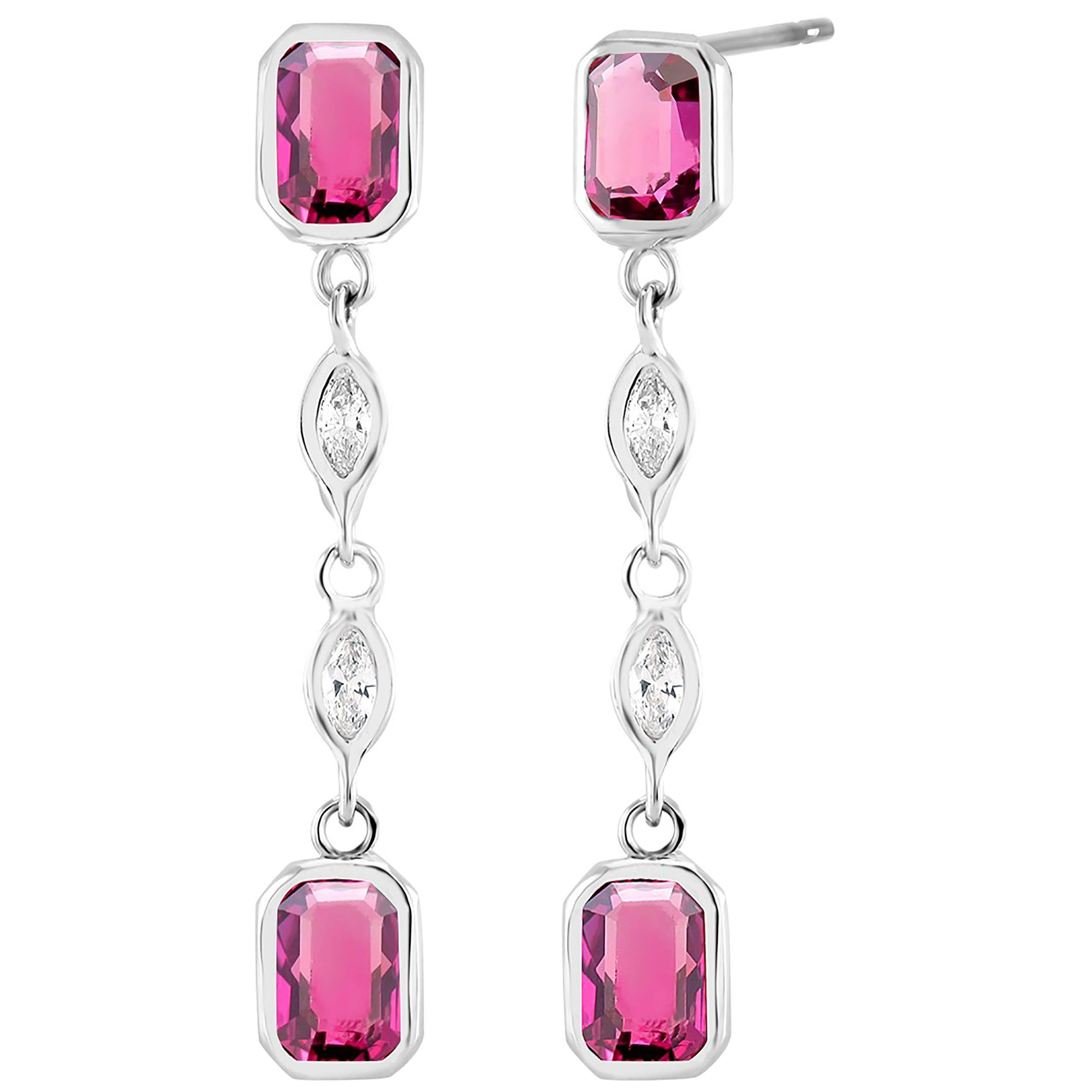 Four Marquise Diamond and Four Emerald Shaped Ruby Drop Earrings