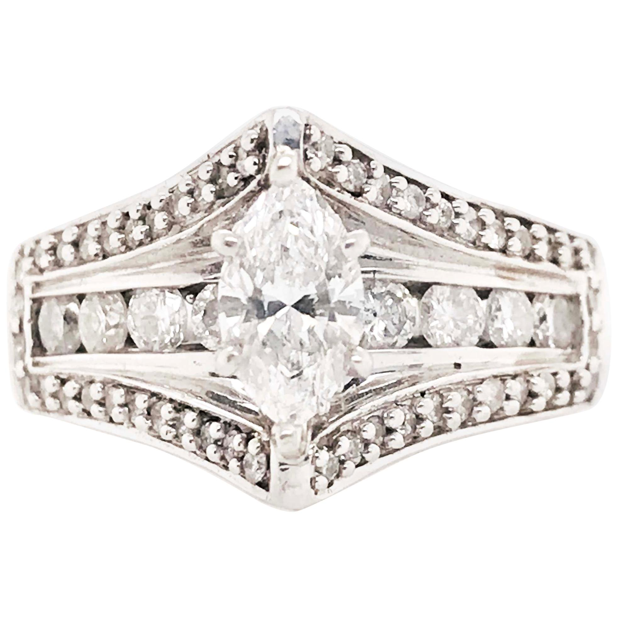 Marquise Diamond Engagement Ring in 14 Karat White Gold with 1.80 Carat Diamonds