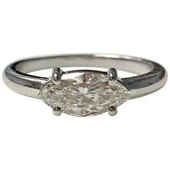 Marquise Diamond Engagement Ring in 18 Karat White Gold