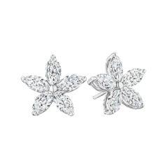 Marquise Diamond Five-Petal Flower Stud Earrings
