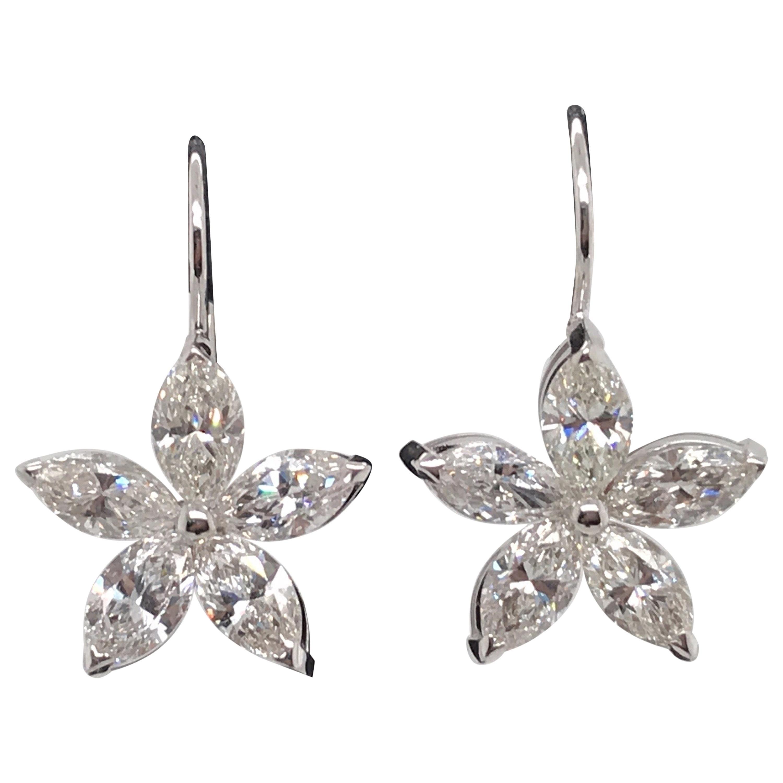 Marquise Diamond Floral Drop Earrings 5 Carat 14 Karat White Gold