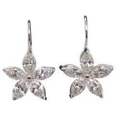 Marquise Diamond Floral Drop Earrings 5 Carat 14 Karat White Gold
