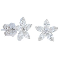 Marquise Diamond Flower Earrings , Gold, Ben Dannie