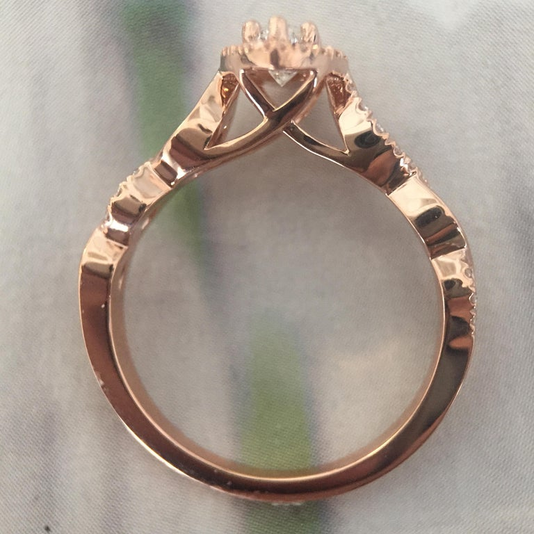 Marquise Cut Marquise Diamond Halo Engagement Ring Set in Rose Gold and Diamonds Twist Shank For Sale