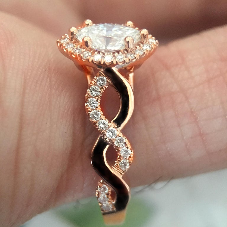 Marquise Diamond Halo Engagement Ring Set in Rose Gold and Diamonds Twist Shank In New Condition For Sale In West Hollywood, CA