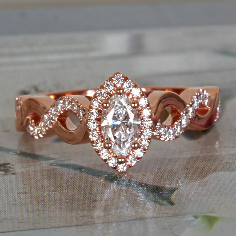 Women's Marquise Diamond Halo Engagement Ring Set in Rose Gold and Diamonds Twist Shank For Sale