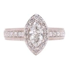 Marquise Diamond Halo Ring Milgrain Diamond Band 1.00 Carat 14 Karat White Gold