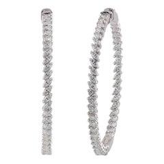 Studio Rêves Marquise Diamond Hoop Earrings in 18 Karat White Gold