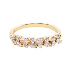 Marquise Diamond Round Brilliant Cut Diamond Wedding Ring 18K Yellow Gold